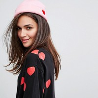 Lazy Oaf Pink Heart Beanie at asos.com