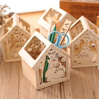 Transparent Hollow Out Cats Pen Storage Creative Cartoons Wooden Stationary [6282846214]