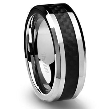 8MM Titanium Ring Wedding Band Black Carbon Fiber Inlay and Beveled Edges | FREE ENGRAVING