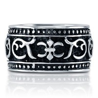 Stainless Steel Black Dyed Tribal Pattern Design Men's Dome Ring 14mm #r756