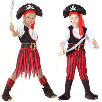 2017 New Children Pirate Costume Caribbean Pirates Costume Kids Halloween Carnival Costumes Fancy Dress Party Supplies