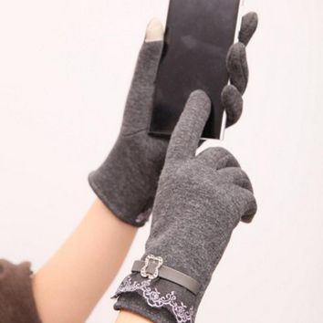 Gray New Hot Cute Fashion Design Cotton Women Touch Screen Lace Gloves Cute Lady Gloves