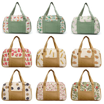 Women's Watercolor Fruit Patterns Beige Printed Canvas Duffel Travel Bags WAS_19