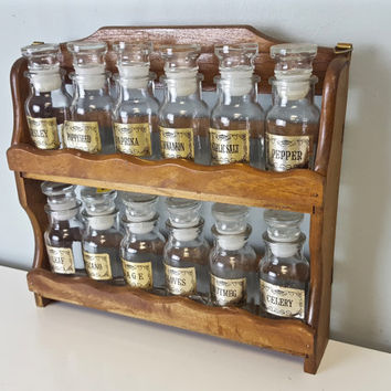 Set of 12 Glass Spice Jars with Rack, Glass Apothecary Jars Stopper, Small Apothecary Jars Vintage Spice Jars Spice Storage, Farmhouse Decor
