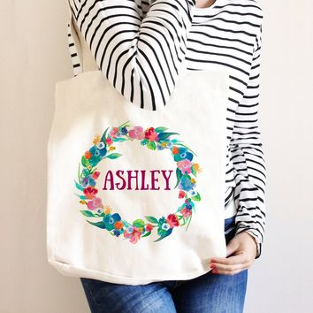 Bridesmaid Tote - Bridesmaid Gift Personalized Floral Wreath Canvas Tote Bag