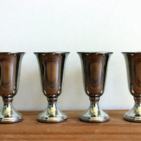 vintage pewter cordials // set of 4 // vintage wedding // aperitif // liqueur // web pewter