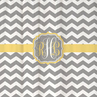 "Shower Curtain - Grey Chevron with Yellow Accents - 69x70"" - 100% Polyester - Monogrammed Personalized"