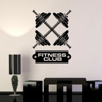 Vinyl Wall Decal Dumbbells Fitness Club Gym Bodybuilding Art Decor Stickers Mural Unique Gift (ig5182)