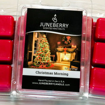 Christmas Morning Scented Wax Melts - Highly Scented Soy Wax Blend - Six Melts, Tarts, Hand Poured By Juneberry Candle