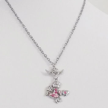 angel pendant necklace,pink swarvaski crystals,winged heart pendant,cute necklace,angelic necklace,sweet necklace,fantasy necklace