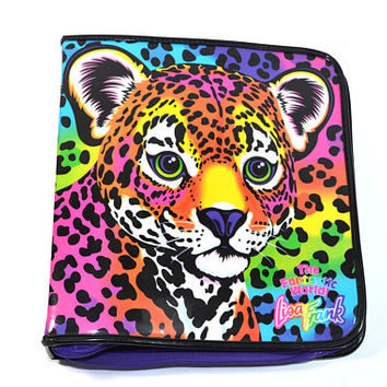 Vintage Lisa Frank Binder Forrest Cheetah Binder Zipper Binder Lisa Frank Trapper Keeper 90s Lisa Frank Collectible