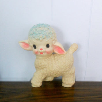 Vintage Squeaky Toy 1950's Little Lamb by Sun by houseofheirlooms