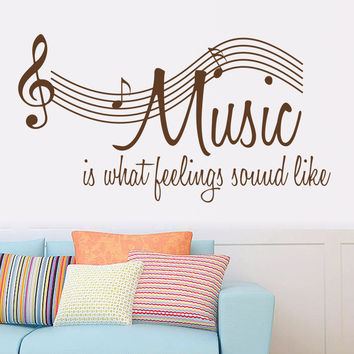 "Characters ""MUSIC"" Note Wall Sticker Living Room Removable wall stickers home decor decoracion vinyl Gray 57*106CM SM6"
