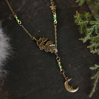 moonlit woods // moon & leaf lariat necklace