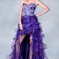 PRIMA C137680 High Low Orange or Purple Prom Dress