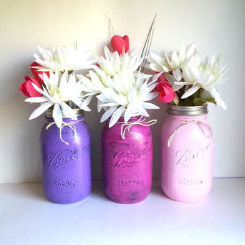 Painted Quart Mason Jar vase set of 3 for home decor or rustic wedding