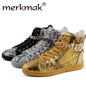 Merkmak 2016 Brand Men's Shoes Street Dance High Top Metal Chain Zipper Design Luxury Flats Shoes Casual Shoes Ankle Boots