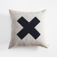 20x20 Decorative Linen Pillow cover, Beige natural linen with Grey X cross, 50x50cm Swiss cross Throw pillow, Decorative pillow covers