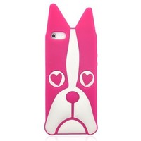 Heart Eyes Dog Soft Case For iPhone 5-Pink