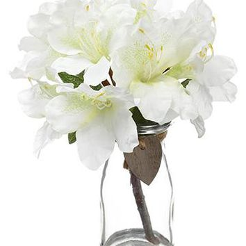 "White Rhododendron Silk Flower Arrangements - 9"" Tall"
