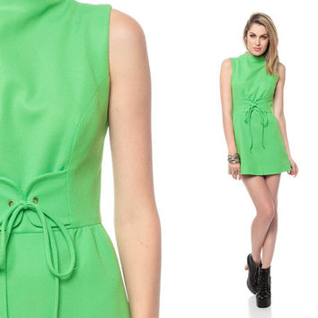60s Gogo Dress MOD Micro Mini LACE UP Lime Green by ShopExile
