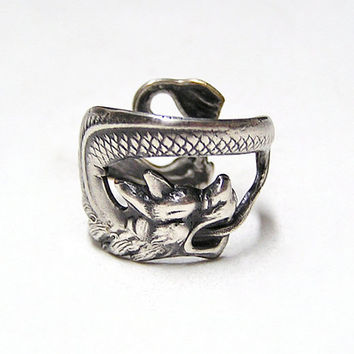 Steampunk DRAGON SERPENT Ring sw by chinookhugs on Etsy