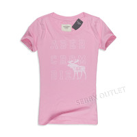 Abercrombie & Fitch T Shirt Graphic Tee Pink Large Moose