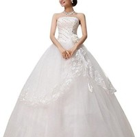 jeansian Women White Strapless Formal Wedding Dress Prom Gown Shirt Tops WVA004