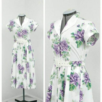 Vintage 80s Carol Anderson Cotton White Floral Dress, Midi Dress, Shirt Dress, Keyhole Back, Summer Dress, Sun Dress, Tea Length Dress