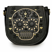 """Sugar Skull Denim"" Crossbody Bag by Loungefly (Gold/Black)"