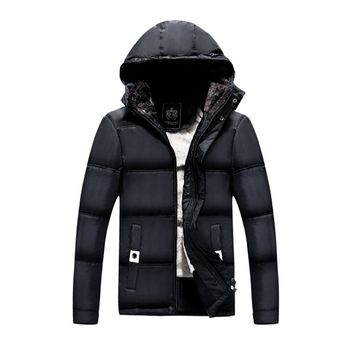 Men's Winter Thicken Coat Quilted Jacket with Removable Hood