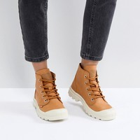 Palladium Pampa Hi Leather Tan Flat Ankle Boots at asos.com