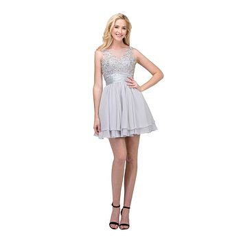 Short Bateau Neck Silver Dress Chiffon A Line Illusion