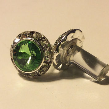 00g 0g 2g 4g Silver Peridot GENUINE Swarovski Elements PLUGS Wedding Bridal Bridesmaid Special Occasion Costume Jewelry