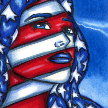american patriotic woman art original face painting aceo ATC card red white blue