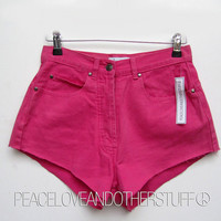"SALE - Re-worked Vintage - Bespoke High Waisted - Pink Denim Shorts 27""W by PeaceLoveAndOtherStuff"