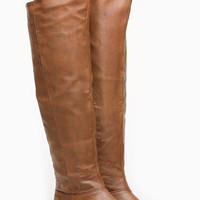 Tan Faux Leather Knee High Tenesse Rider Boots