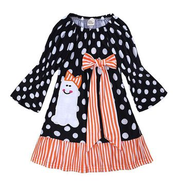 Baby Girls Dresses 2018 Halloween Party Pumpkin Dress For Girls Clothes Cute Cotton Print Princess Dress Toddler Kids Vestidos