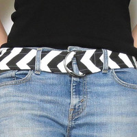 Chevron Belt. Wide Fabric Belt. Design your own. 16 Chevron Choices. Double D Ring Black Nickel Buckle. Summer Fashion for Her.