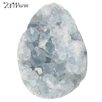 Kiwarm ModernLarge Blue Crystal Stone Celestite Natural Healing Crystal Gemstone For Home Room Display Cabinet Decoration Crafts