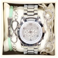 Silver Mint Charm Watch Set