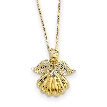 Gold Tone Plated Sterling Silver & CZ Angel of Remembrance Necklace