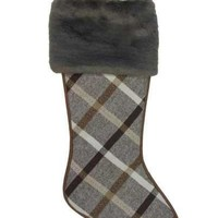 Faux Wool Stocking With Dark Taupe Fur Cuff Plaid