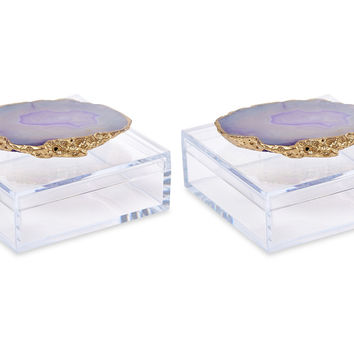 Acrylic Pill Boxes w/ Purple Agate, Set of 2, Acrylic / Lucite, Boxes