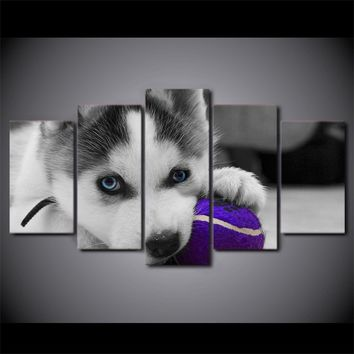 HD Printed 5 Piece Canvas Art Blue Eyes Husky Painting Dog Ball Play Poster Wall Pictures for Living Room