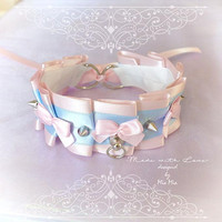 Kitten Play Collar Princess Cat Choker Necklace Pink Baby Blue Bow Spikes O Ring Cute Soft pastel goth Lolita Neko BDSM DDLG Adult Baby