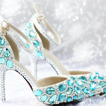 Sell like hot cakes!turquoise Diamond tip lighter buckles high-heeled shoes, wedding shoes shoes fashionable woman single party
