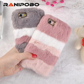 Fashion Fluffy Mix Warm Rabbit Fur Silicon Phone Case For Apple iPhone 6 6s 7 7plus 8 8plus X Gradient Back Cover For iphone 6