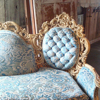 Tufted Sofa, Shabby chic, Hollywood Regency, Two Piece, Ivory and Blue,romantic French Louis style, Frosty Blue BOHO Chic