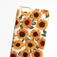 phone case: sunflower pattern, iphone 6. hard case, illustrated floral print, aztec yellow